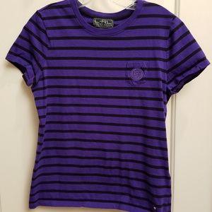 RALPH LAUREN Cotton Striped Tee Shirt, Size Medium